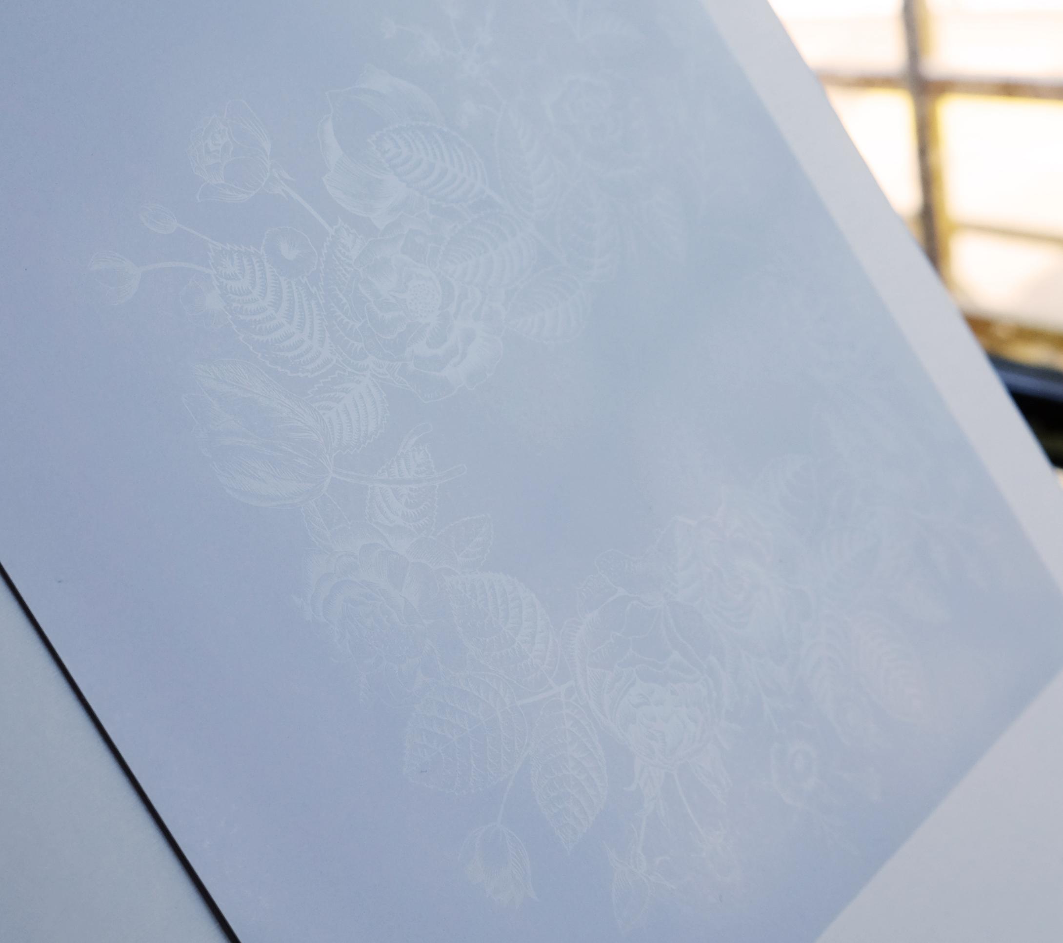 Impression encre blanche sur papier blanc - PCG Print