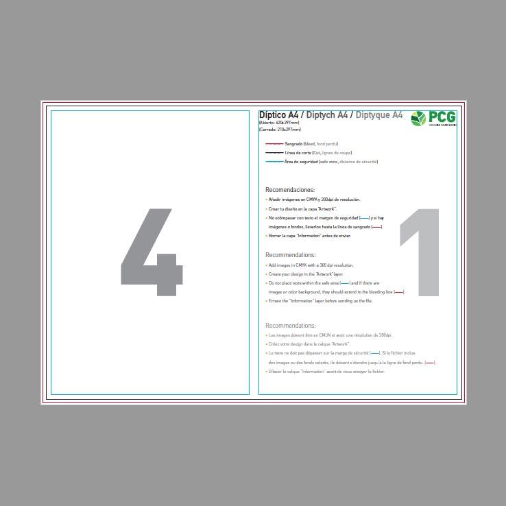 Plantilla prediseñada para diseño de impresión díptico - PCG Barcelona