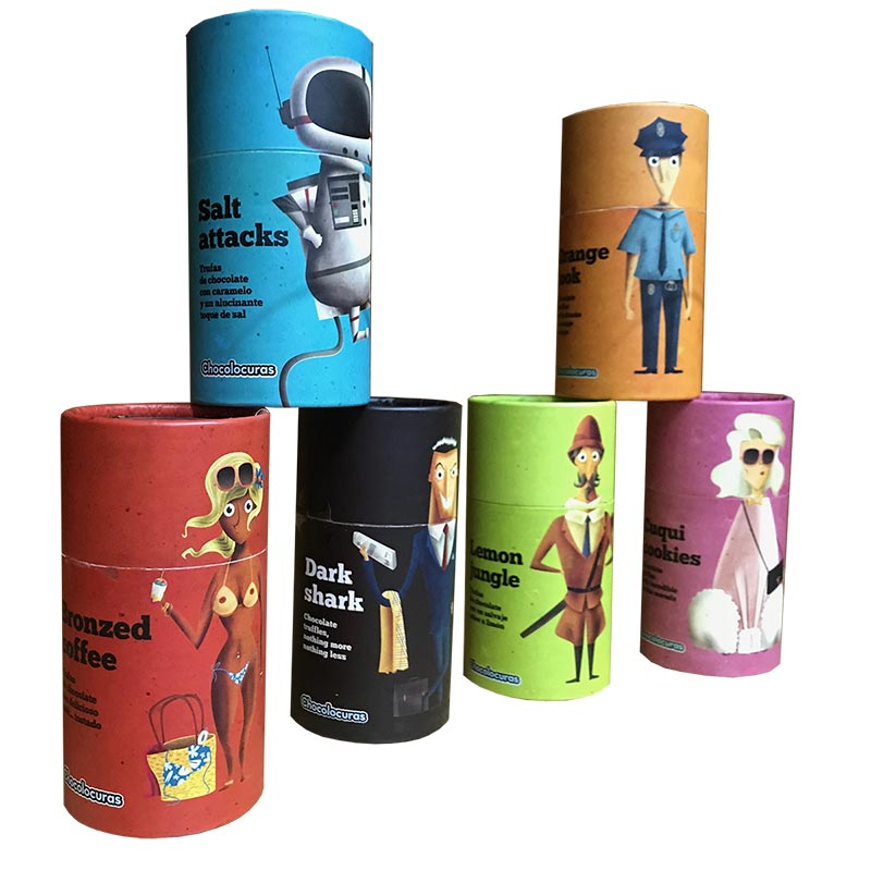Original cardboard cylindrical packaging for chocolate - PCG Barcelona