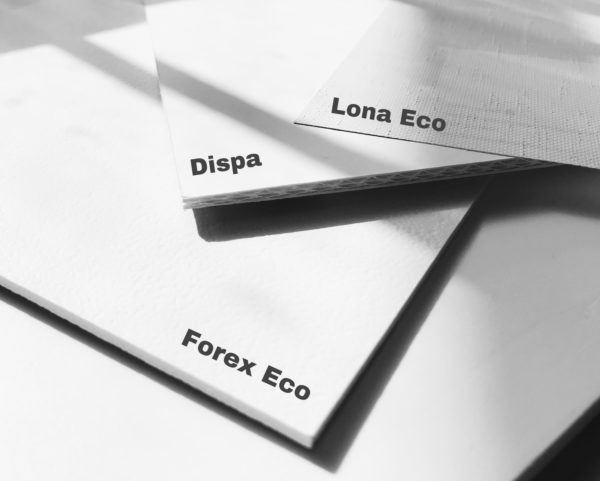 Ecological printing producst (dispa, forex, banner) - PCG Barcelona